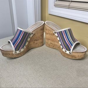 Miu Miu Multi Color Cork Wedge Sandals 8.5